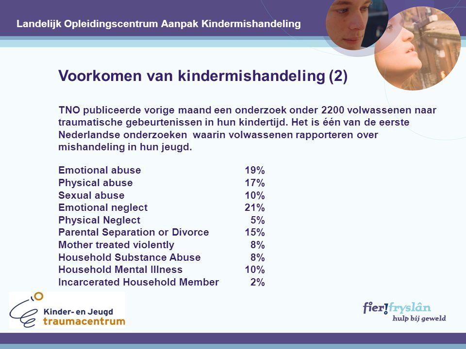 Gevolgen van kindermishandeling / (vroegkinderlijke) traumatisering Zonder behandeling groot risico op verstoorde ontwikkeling Neurologisch Fysiek Intellectueel Emotioneel Verhoogd risico op hertraumatisering Voortzetting 'Cycle of Violence'.