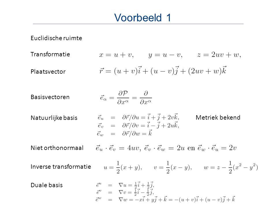 Voorbeeld 1 Plaatsvector Natuurlijke basis Niet orthonormaal Basisvectoren Metriek bekend Inverse transformatie Duale basis Transformatie Euclidische