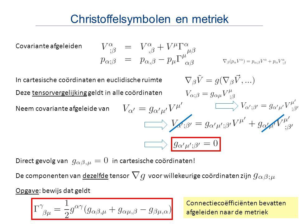 Christoffelsymbolen en metriek In cartesische coördinaten en euclidische ruimte Deze tensorvergelijking geldt in alle coördinaten Covariante afgeleide