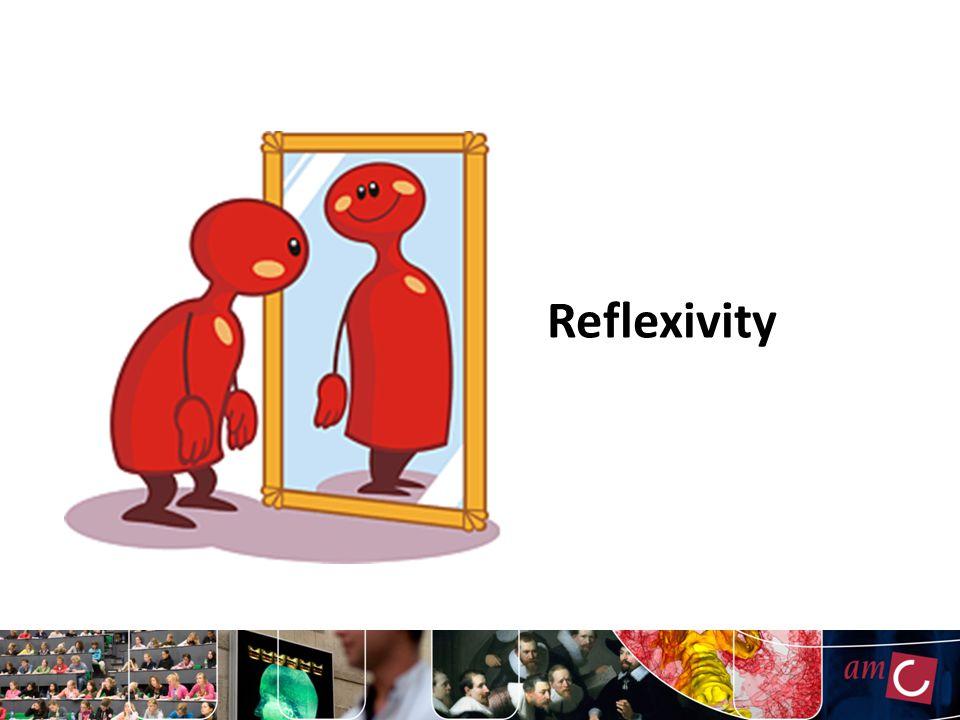 Vormen van reflexiviteit Reflectie op onderzoeksproces Reflectie op rol onderzoeker Omarmen subjectiviteit