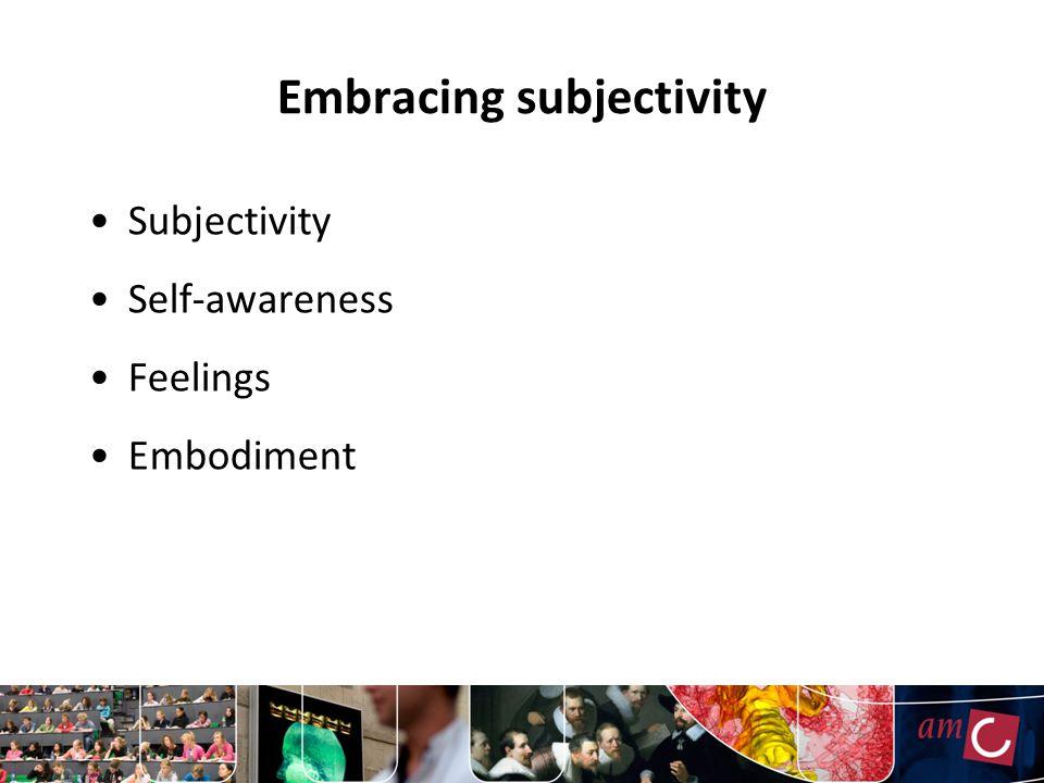 Embracing subjectivity Subjectivity Self-awareness Feelings Embodiment