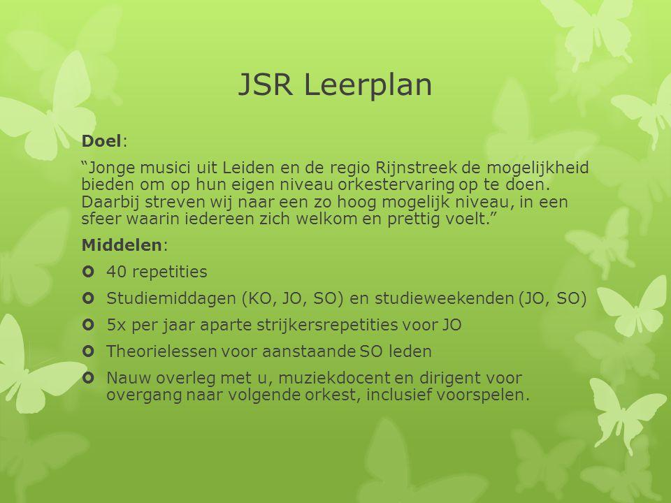 JSR Leerplan Doel: Jonge musici uit Leiden en de regio Rijnstreek de mogelijkheid bieden om op hun eigen niveau orkestervaring op te doen.