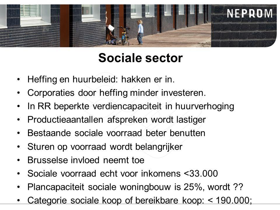 Sociale sector Heffing en huurbeleid: hakken er in. Corporaties door heffing minder investeren. In RR beperkte verdiencapaciteit in huurverhoging Prod
