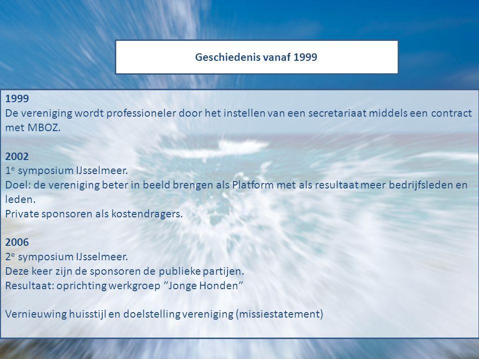 Geschiedenis vanaf 1999 1999 De vereniging wordt professioneler door het instellen van een secretariaat middels een contract met MBOZ. 2002 1 e sympos