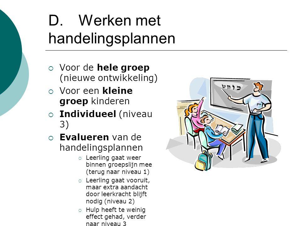 D.Werken met handelingsplannen  Voor de hele groep (nieuwe ontwikkeling)  Voor een kleine groep kinderen  Individueel (niveau 3)  Evalueren van de