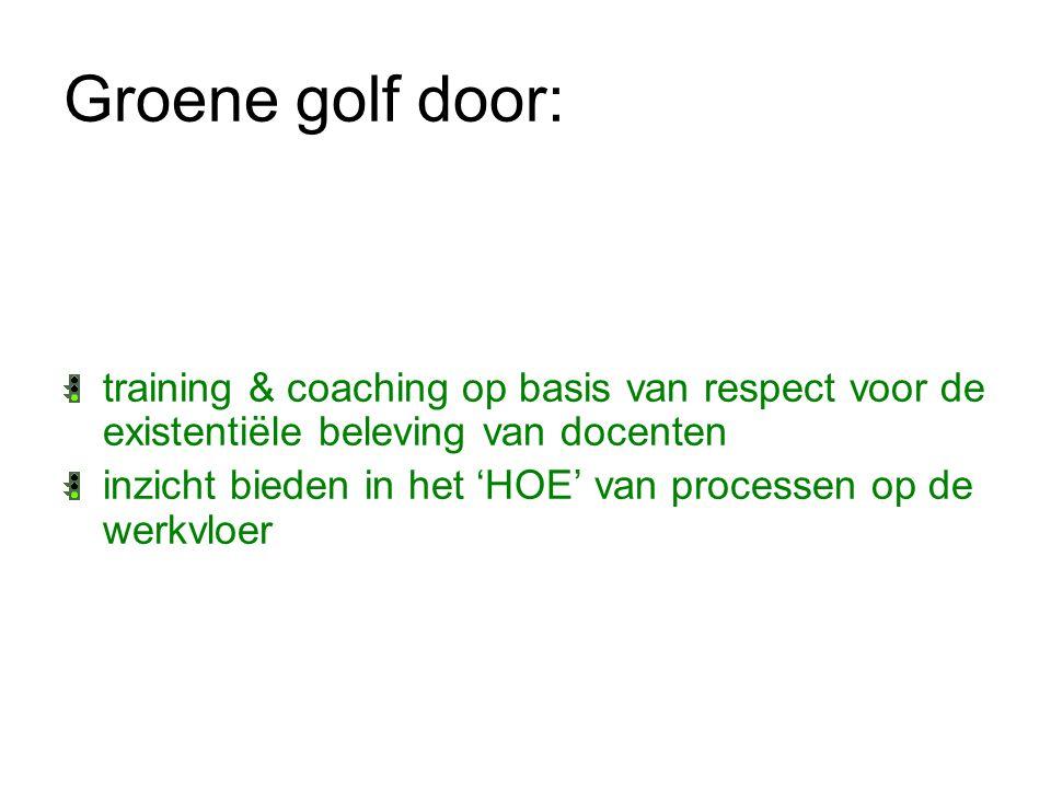 Groene golf door: training & coaching op basis van respect voor de existentiële beleving van docenten inzicht bieden in het 'HOE' van processen op de
