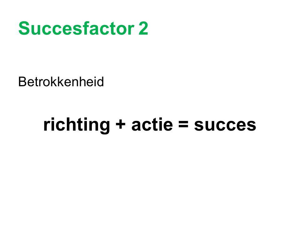 Succesfactor 2 Betrokkenheid richting + actie = succes