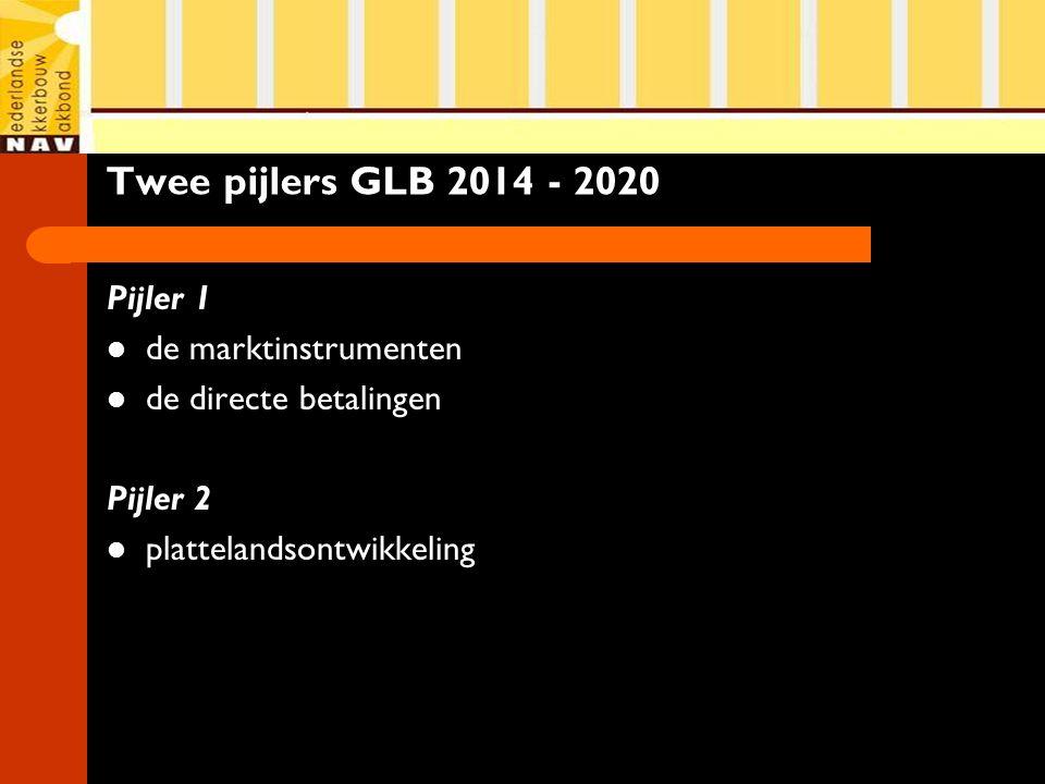 Twee pijlers GLB 2014 - 2020 Pijler 1 de marktinstrumenten de directe betalingen Pijler 2 plattelandsontwikkeling