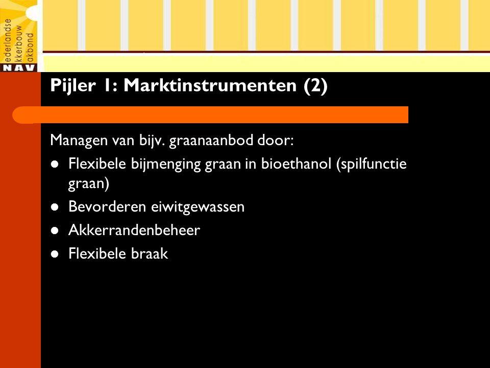 Pijler 1: Marktinstrumenten (2) Managen van bijv. graanaanbod door: Flexibele bijmenging graan in bioethanol (spilfunctie graan) Bevorderen eiwitgewas