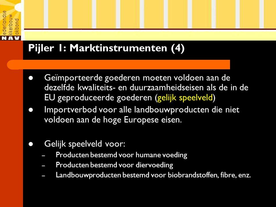 Pijler 1: Marktinstrumenten (4) Geïmporteerde goederen moeten voldoen aan de dezelfde kwaliteits- en duurzaamheidseisen als de in de EU geproduceerde goederen (gelijk speelveld) Importverbod voor alle landbouwproducten die niet voldoen aan de hoge Europese eisen.
