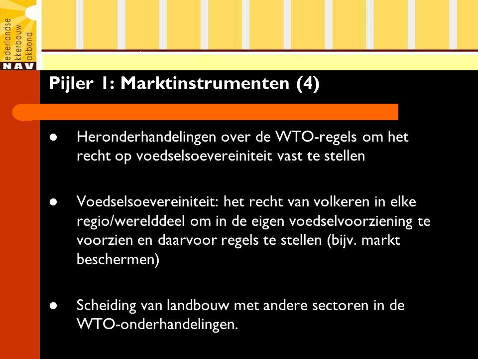 Pijler 1: Marktinstrumenten (4) Heronderhandelingen over de WTO-regels om het recht op voedselsoevereiniteit vast te stellen Voedselsoevereiniteit: het recht van volkeren in elke regio/werelddeel om in de eigen voedselvoorziening te voorzien en daarvoor regels te stellen (bijv.