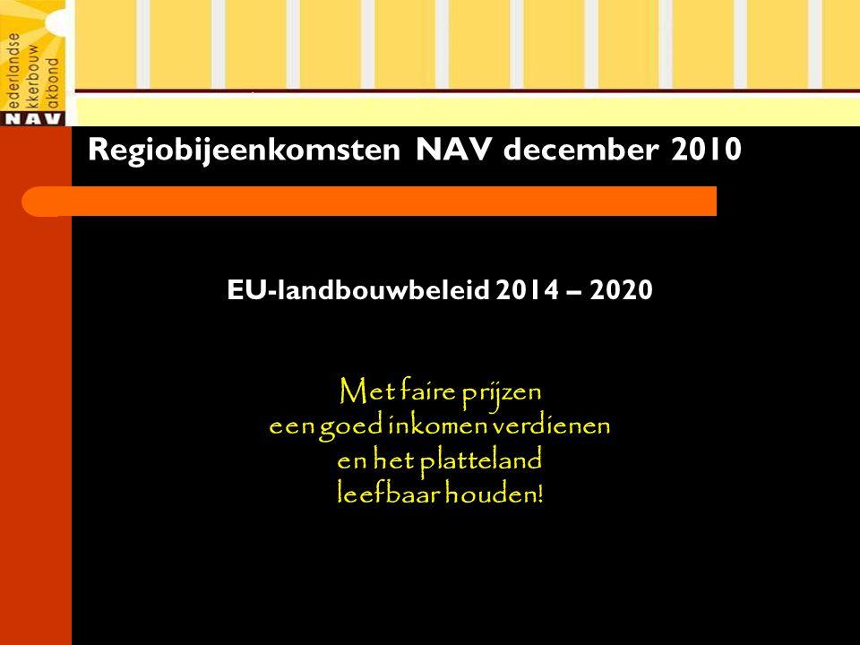 Regiobijeenkomsten NAV december 2010 EU-landbouwbeleid 2014 – 2020 Met faire prijzen een goed inkomen verdienen en het platteland leefbaar houden!