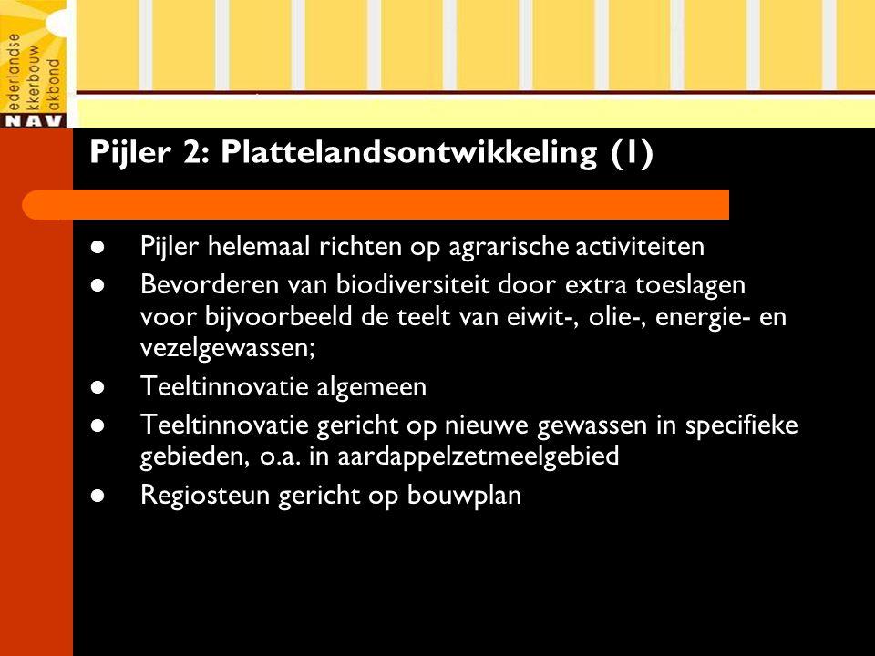 Pijler 2: Plattelandsontwikkeling (1) Pijler helemaal richten op agrarische activiteiten Bevorderen van biodiversiteit door extra toeslagen voor bijvoorbeeld de teelt van eiwit-, olie-, energie- en vezelgewassen; Teeltinnovatie algemeen Teeltinnovatie gericht op nieuwe gewassen in specifieke gebieden, o.a.