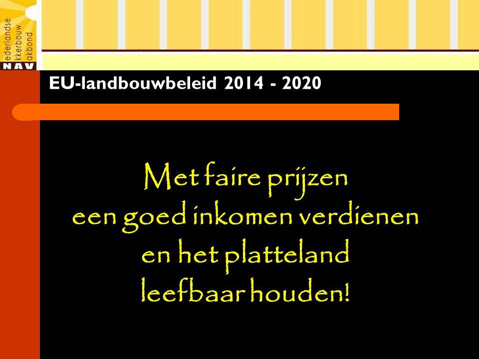 EU-landbouwbeleid 2014 - 2020 Met faire prijzen een goed inkomen verdienen en het platteland leefbaar houden!
