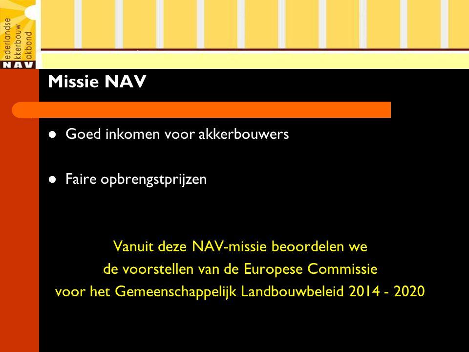 Missie NAV Goed inkomen voor akkerbouwers Faire opbrengstprijzen Vanuit deze NAV-missie beoordelen we de voorstellen van de Europese Commissie voor he