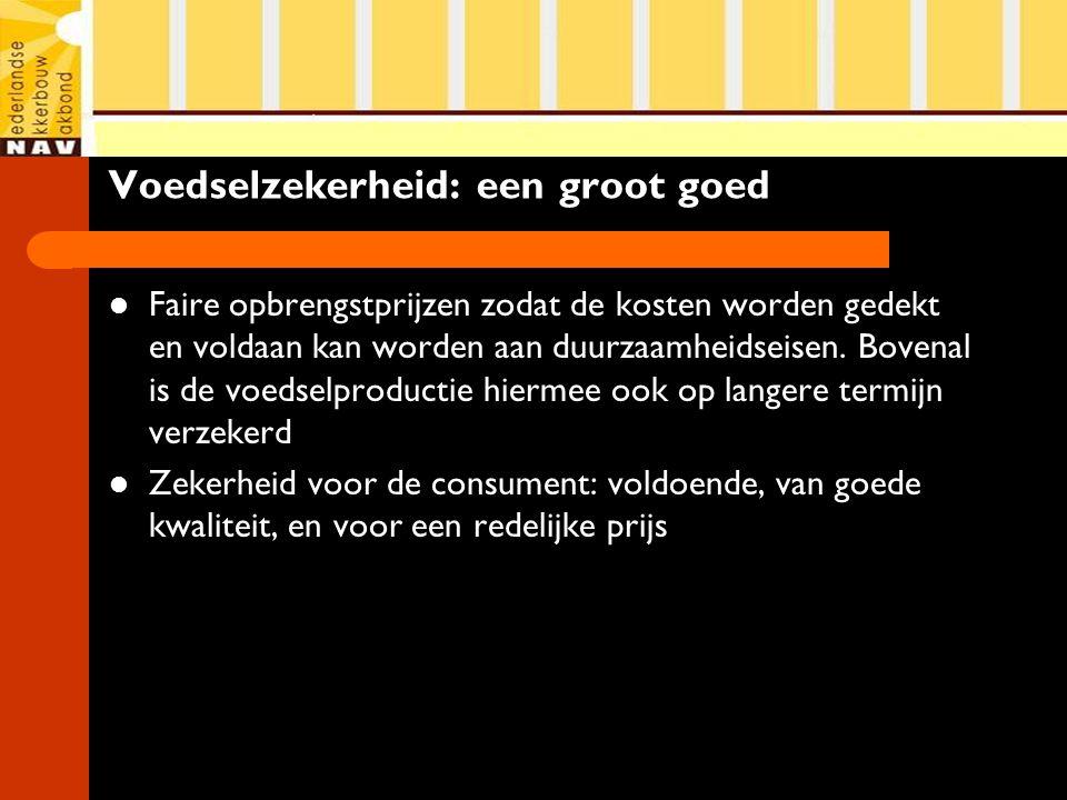 Voedselzekerheid: een groot goed Faire opbrengstprijzen zodat de kosten worden gedekt en voldaan kan worden aan duurzaamheidseisen. Bovenal is de voed