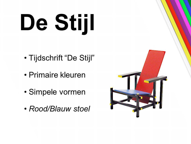 De Stijl Tijdschrift De Stijl Primaire kleuren Simpele vormen Rood/Blauw stoel