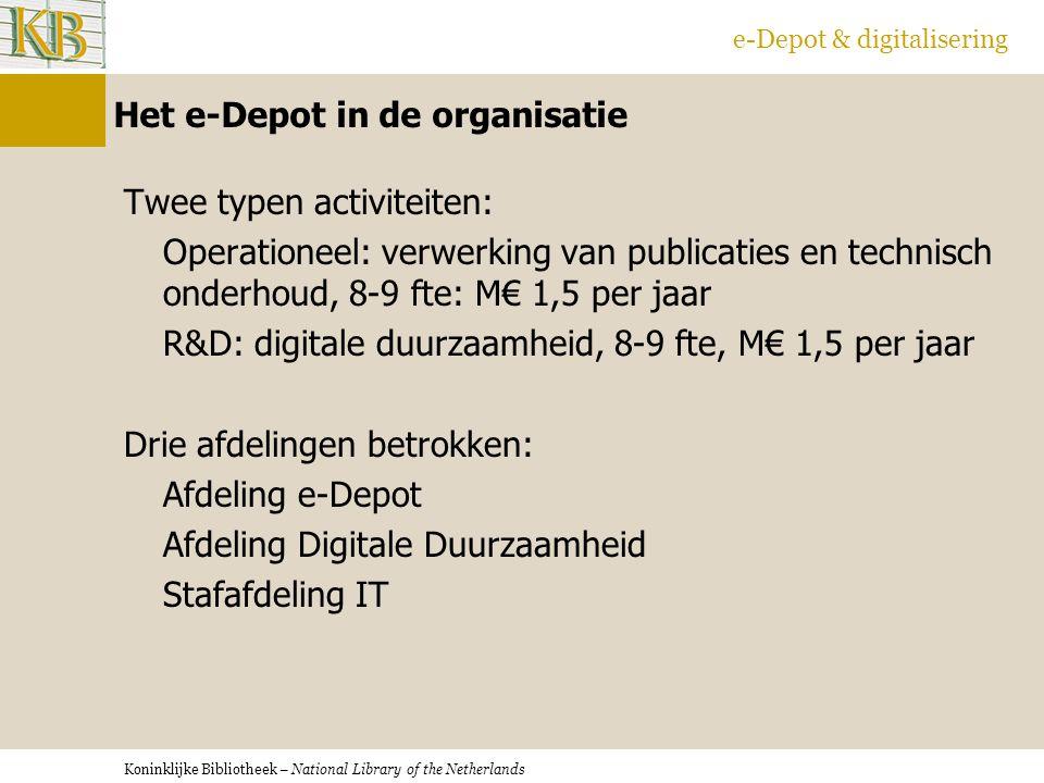 Koninklijke Bibliotheek – National Library of the Netherlands e-Depot & digitalisering Het e-Depot in de organisatie Twee typen activiteiten: Operationeel: verwerking van publicaties en technisch onderhoud, 8-9 fte: M€ 1,5 per jaar R&D: digitale duurzaamheid, 8-9 fte, M€ 1,5 per jaar Drie afdelingen betrokken: Afdeling e-Depot Afdeling Digitale Duurzaamheid Stafafdeling IT