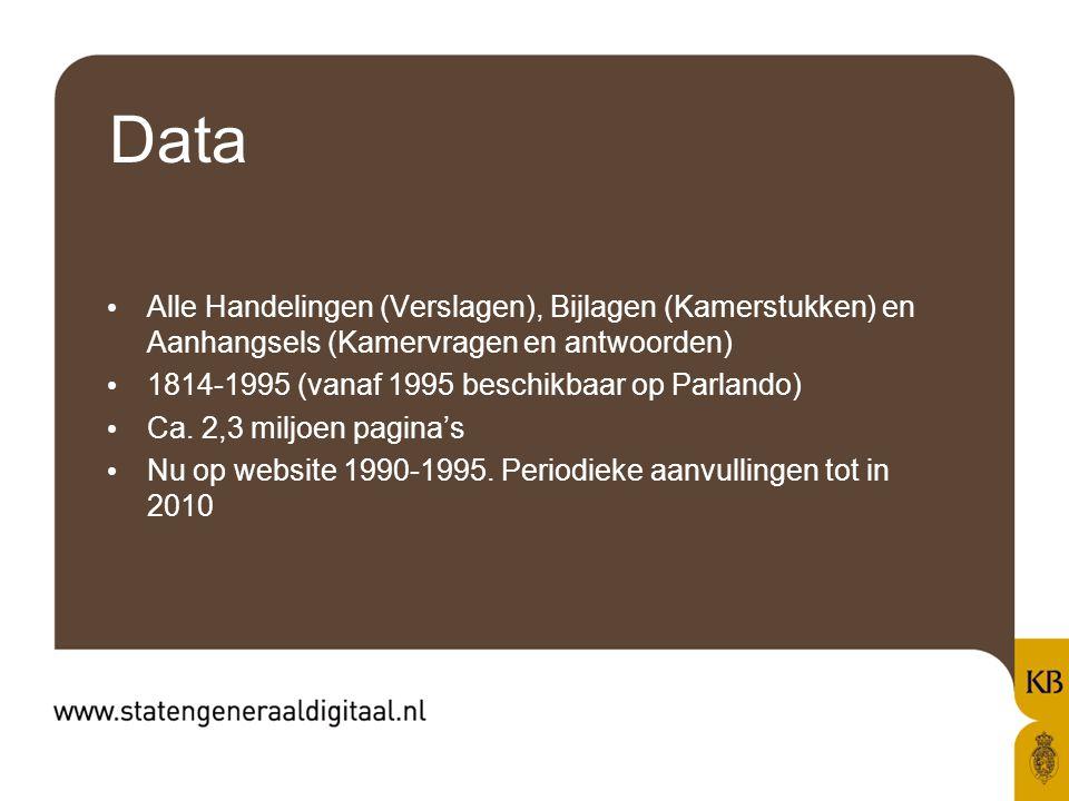 Data Alle Handelingen (Verslagen), Bijlagen (Kamerstukken) en Aanhangsels (Kamervragen en antwoorden) 1814-1995 (vanaf 1995 beschikbaar op Parlando) Ca.