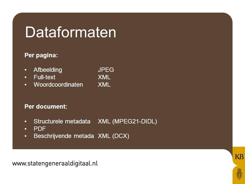Dataformaten Per pagina: AfbeeldingJPEG Full-textXML WoordcoordinatenXML Per document: Structurele metadataXML (MPEG21-DIDL) PDF Beschrijvende metadaXML (DCX)