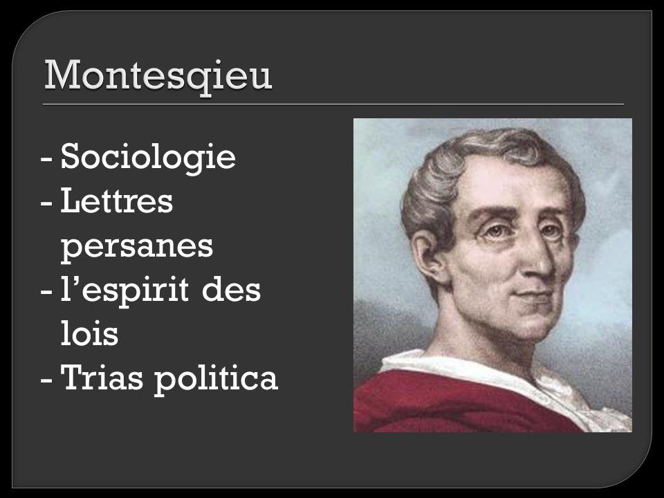 -Sociologie -Lettres persanes -l'espirit des lois -Trias politica