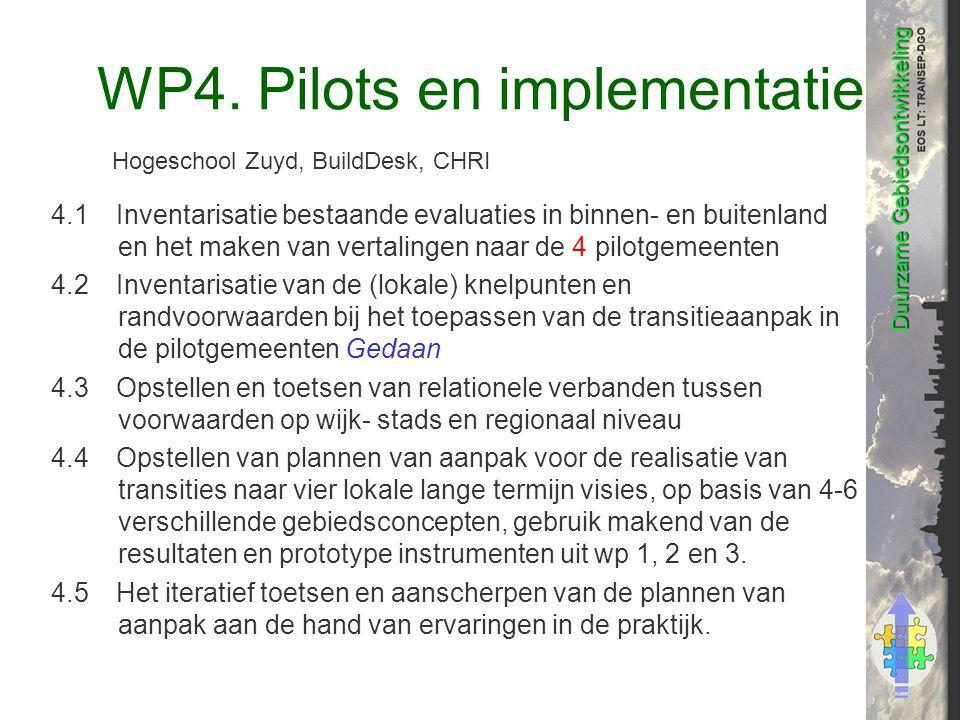 WP4. Pilots en implementatie 4.1Inventarisatie bestaande evaluaties in binnen- en buitenland en het maken van vertalingen naar de 4 pilotgemeenten 4.2