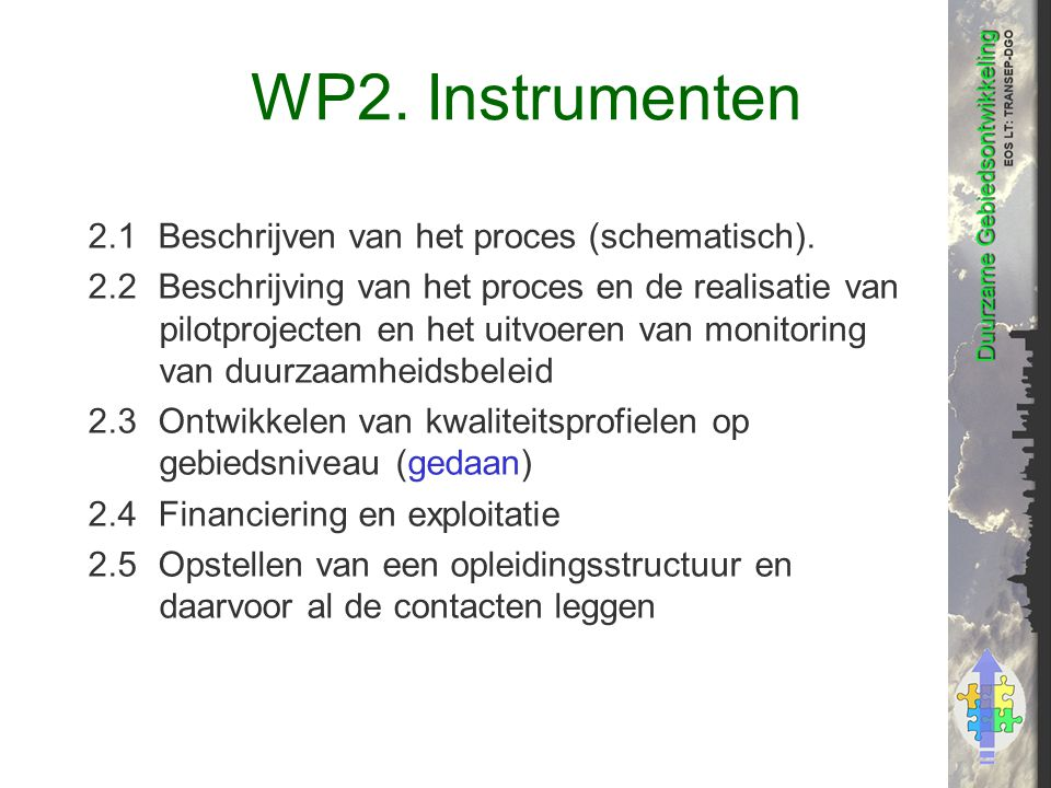 WP2. Instrumenten 2.1Beschrijven van het proces (schematisch).