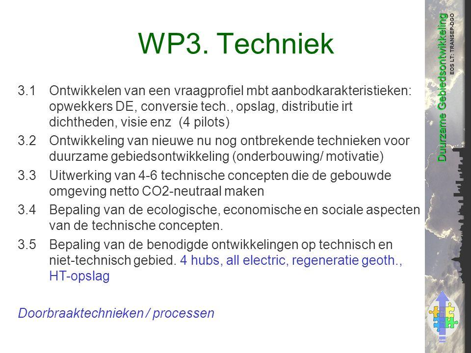 WP3. Techniek 3.1Ontwikkelen van een vraagprofiel mbt aanbodkarakteristieken: opwekkers DE, conversie tech., opslag, distributie irt dichtheden, visie