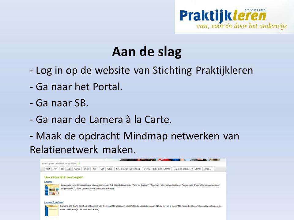 Aan de slag - Log in op de website van Stichting Praktijkleren - Ga naar het Portal. - Ga naar SB. - Ga naar de Lamera à la Carte. - Maak de opdracht