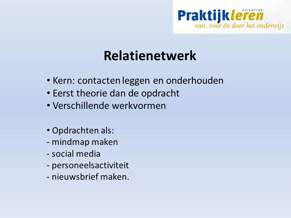 Relatienetwerk Kern: contacten leggen en onderhouden Eerst theorie dan de opdracht Verschillende werkvormen Opdrachten als: - mindmap maken - social m