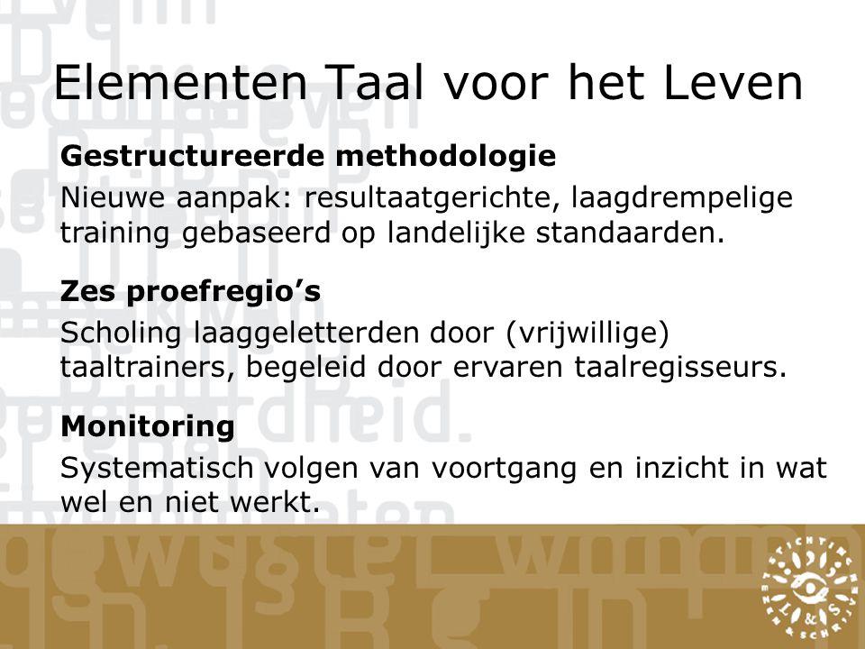Elementen Taal voor het Leven Gestructureerde methodologie Nieuwe aanpak: resultaatgerichte, laagdrempelige training gebaseerd op landelijke standaarden.