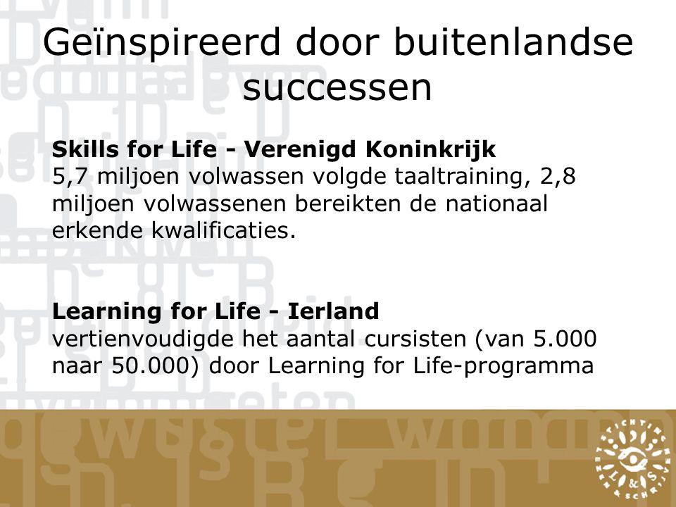 Geïnspireerd door buitenlandse successen Skills for Life - Verenigd Koninkrijk 5,7 miljoen volwassen volgde taaltraining, 2,8 miljoen volwassenen bereikten de nationaal erkende kwalificaties.