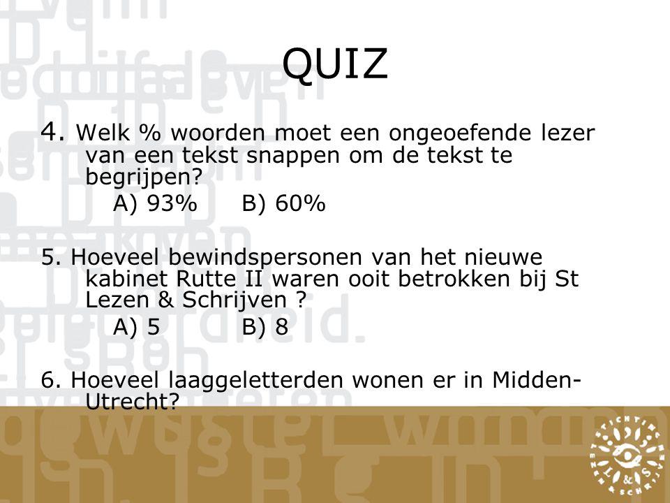 QUIZ 4. Welk % woorden moet een ongeoefende lezer van een tekst snappen om de tekst te begrijpen? A) 93%B) 60% 5. Hoeveel bewindspersonen van het nieu