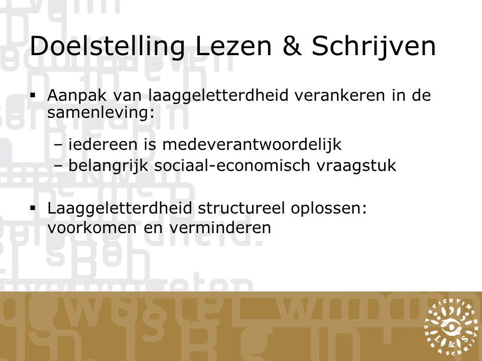 Doelstelling Lezen & Schrijven  Aanpak van laaggeletterdheid verankeren in de samenleving: –iedereen is medeverantwoordelijk –belangrijk sociaal-economisch vraagstuk  Laaggeletterdheid structureel oplossen: voorkomen en verminderen