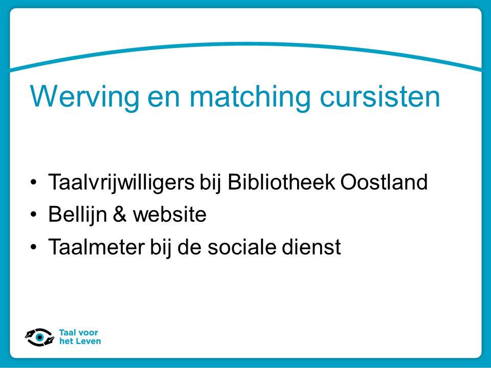 Werving en matching cursisten Taalvrijwilligers bij Bibliotheek Oostland Bellijn & website Taalmeter bij de sociale dienst