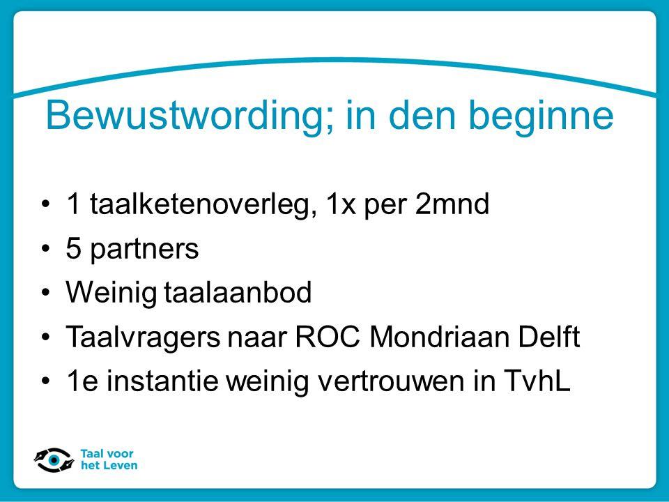 Bewustwording; in den beginne 1 taalketenoverleg, 1x per 2mnd 5 partners Weinig taalaanbod Taalvragers naar ROC Mondriaan Delft 1e instantie weinig ve