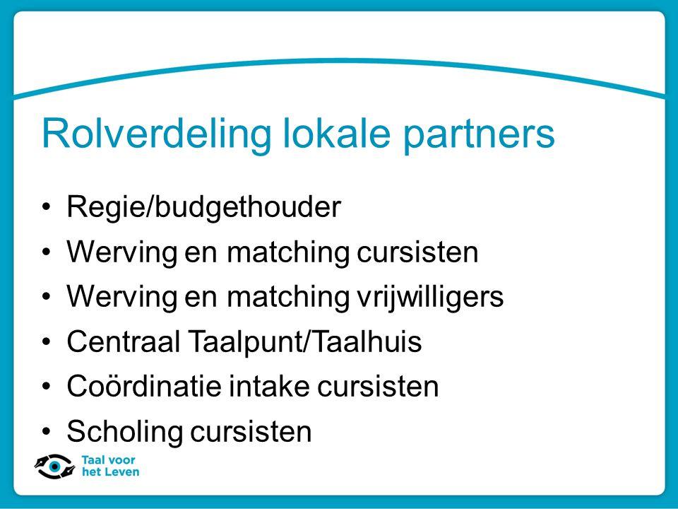 Rolverdeling lokale partners Regie/budgethouder Werving en matching cursisten Werving en matching vrijwilligers Centraal Taalpunt/Taalhuis Coördinatie