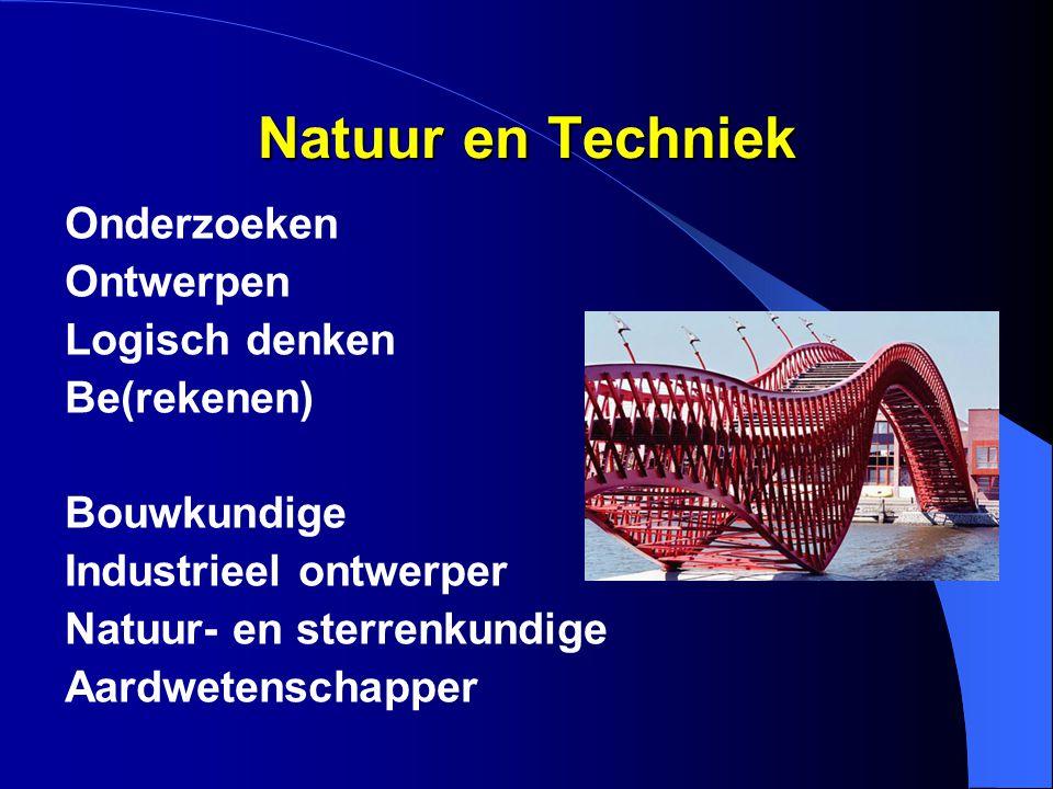 Natuur en Techniek Onderzoeken Ontwerpen Logisch denken Be(rekenen) Bouwkundige Industrieel ontwerper Natuur- en sterrenkundige Aardwetenschapper