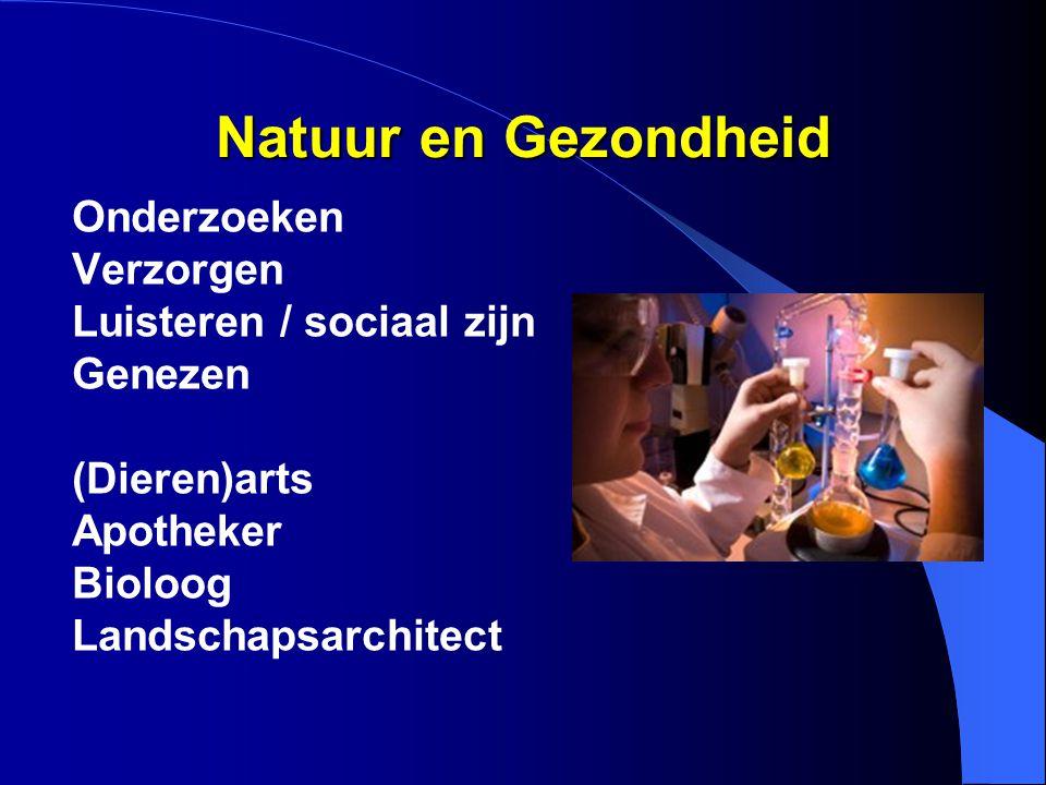 Natuur en Gezondheid Onderzoeken Verzorgen Luisteren / sociaal zijn Genezen (Dieren)arts Apotheker Bioloog Landschapsarchitect