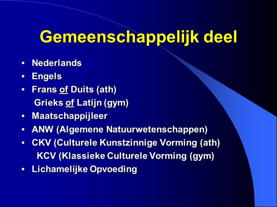 Gemeenschappelijk deel  Nederlands  Engels  Frans of Duits (ath) Grieks of Latijn (gym) Grieks of Latijn (gym)  Maatschappijleer  ANW (Algemene Natuurwetenschappen)  CKV (Culturele Kunstzinnige Vorming (ath) KCV (Klassieke Culturele Vorming (gym) KCV (Klassieke Culturele Vorming (gym)  Lichamelijke Opvoeding