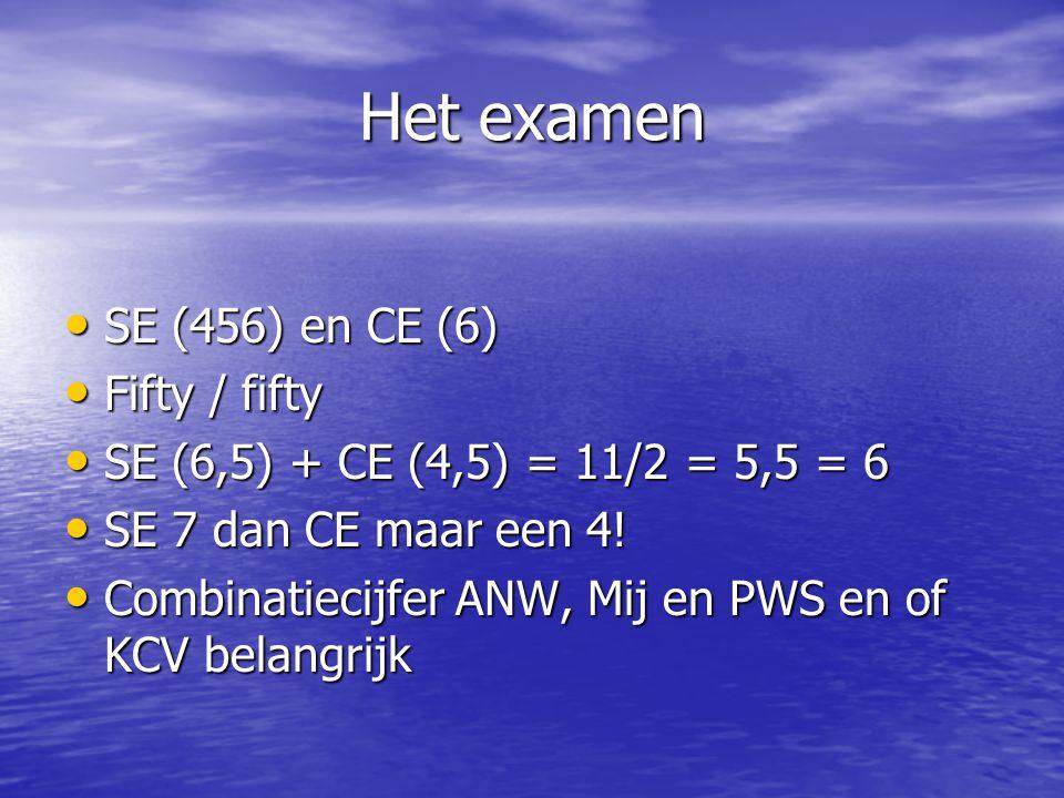 Het examen SE (456) en CE (6) SE (456) en CE (6) Fifty / fifty Fifty / fifty SE (6,5) + CE (4,5) = 11/2 = 5,5 = 6 SE (6,5) + CE (4,5) = 11/2 = 5,5 = 6 SE 7 dan CE maar een 4.