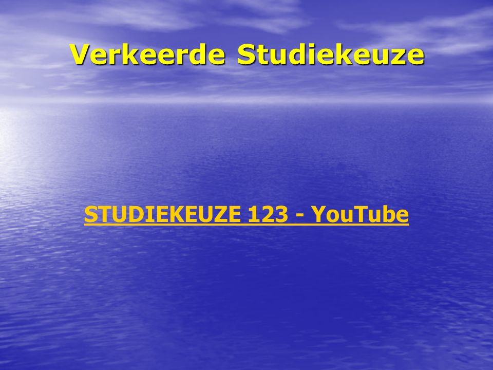 Verkeerde Studiekeuze STUDIEKEUZE 123 - YouTube