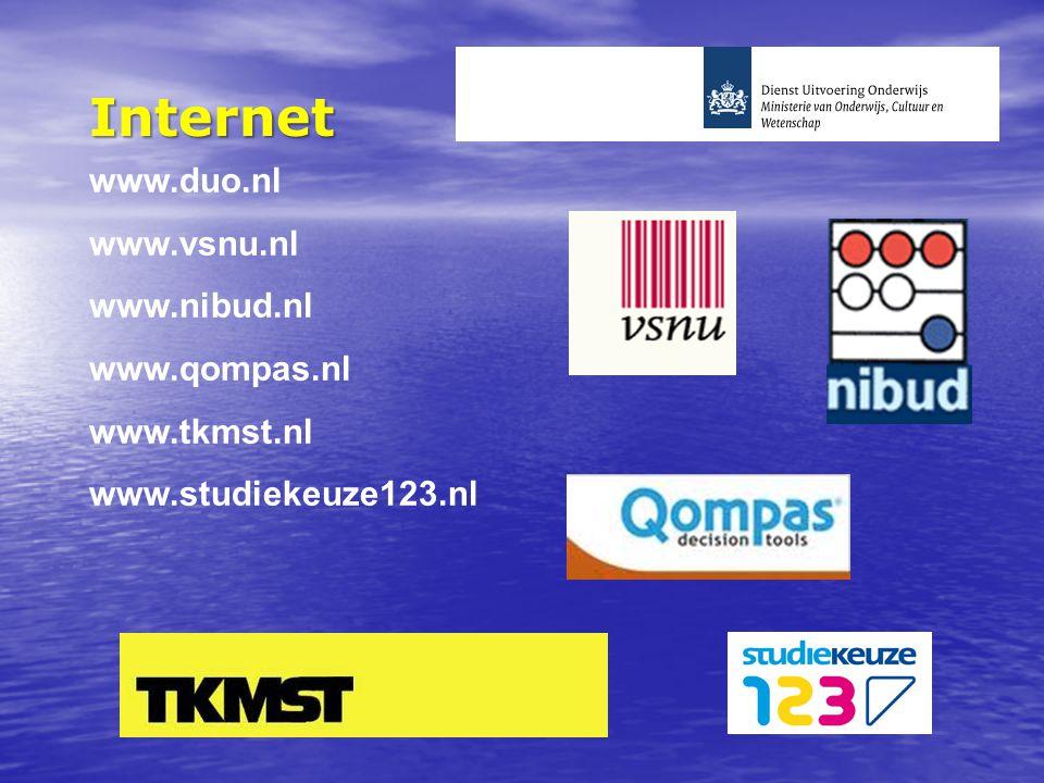 Internet www.duo.nl www.vsnu.nl www.nibud.nl www.qompas.nl www.tkmst.nl www.studiekeuze123.nl