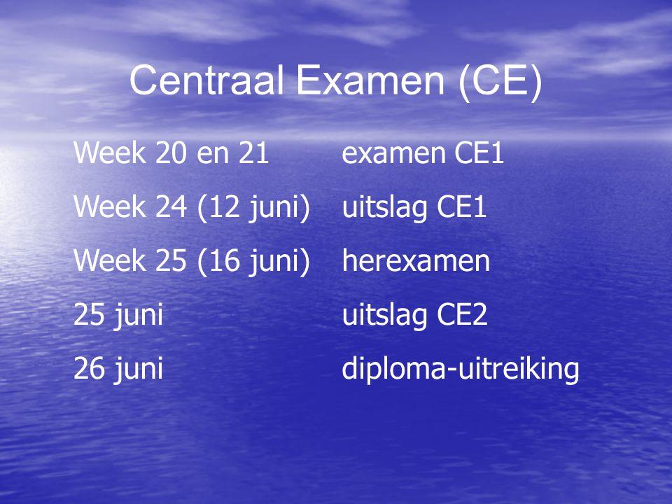 Centraal Examen (CE) Week 20 en 21 examen CE1 Week 24 (12 juni) uitslag CE1 Week 25 (16 juni)herexamen 25 juni uitslag CE2 26 juni diploma-uitreiking