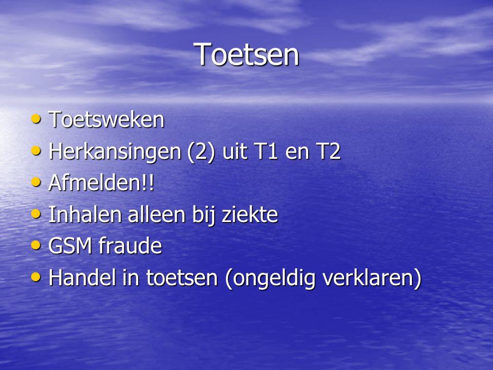 Toetsen Toetsweken Toetsweken Herkansingen (2) uit T1 en T2 Herkansingen (2) uit T1 en T2 Afmelden!.