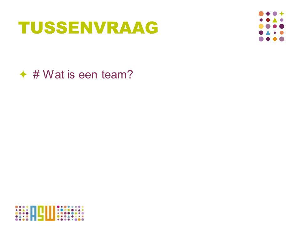 TUSSENVRAAG  # Wat is een team?
