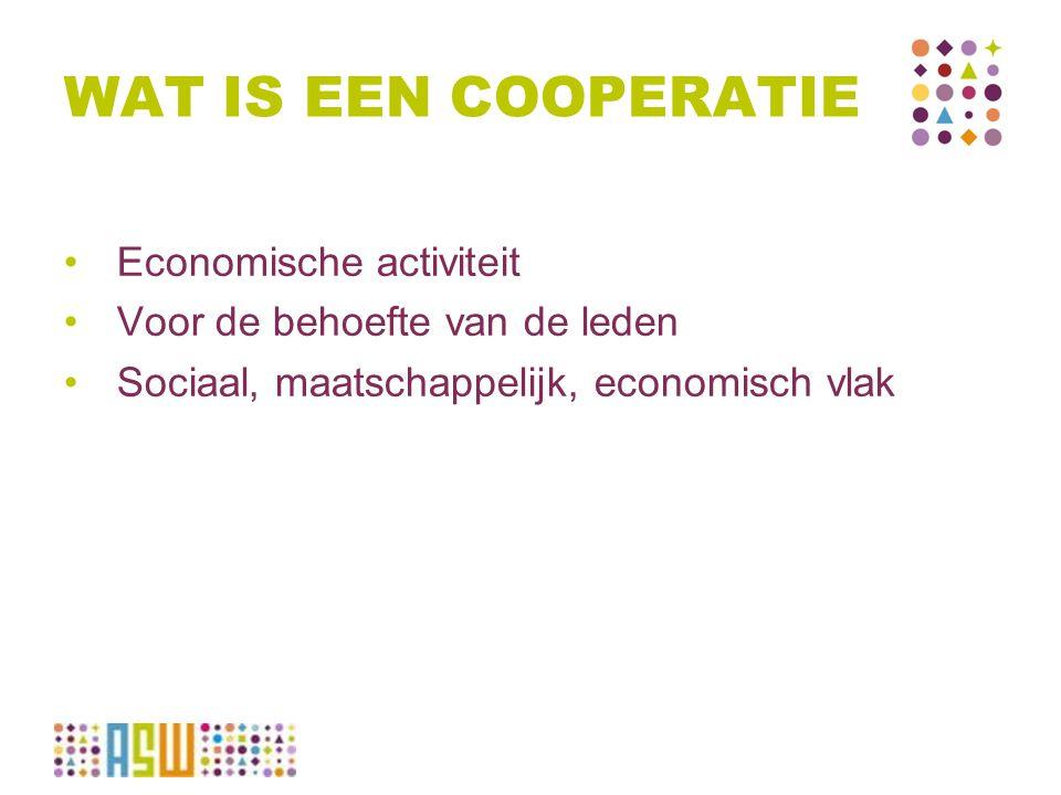 WAT IS EEN COOPERATIE Economische activiteit Voor de behoefte van de leden Sociaal, maatschappelijk, economisch vlak