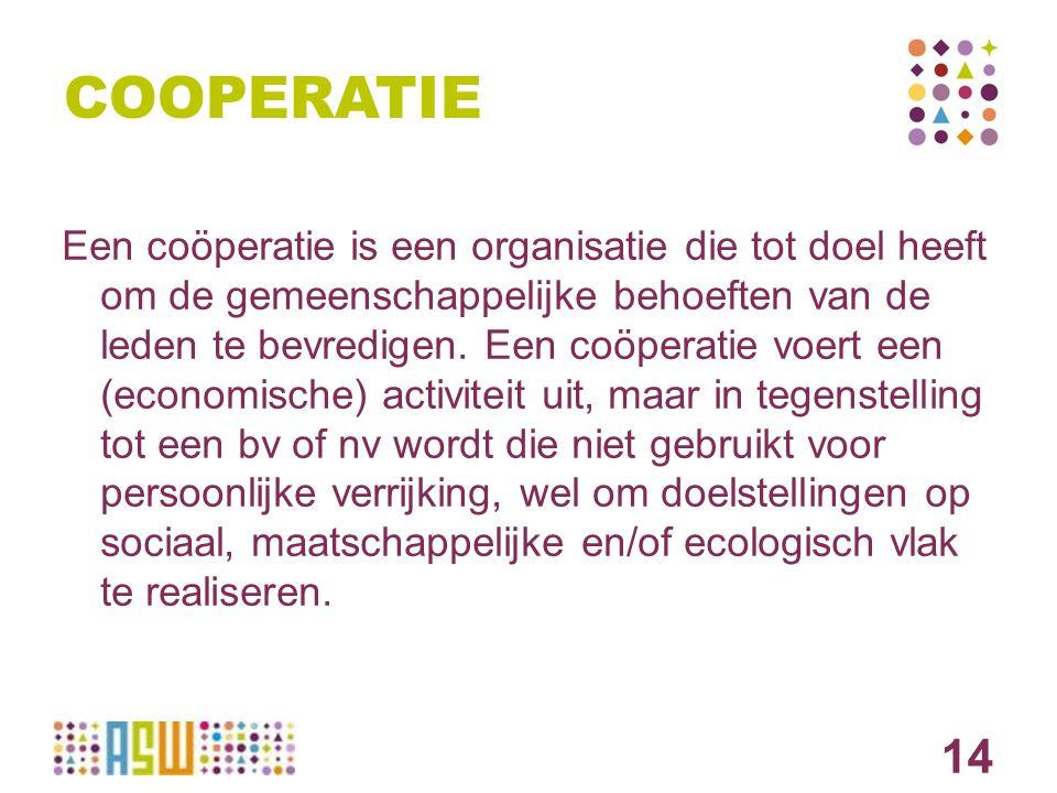 COOPERATIE Een coöperatie is een organisatie die tot doel heeft om de gemeenschappelijke behoeften van de leden te bevredigen. Een coöperatie voert ee