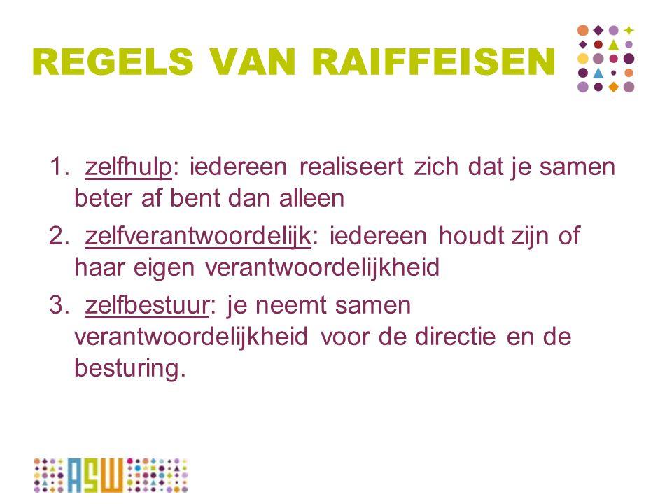 REGELS VAN RAIFFEISEN 1.