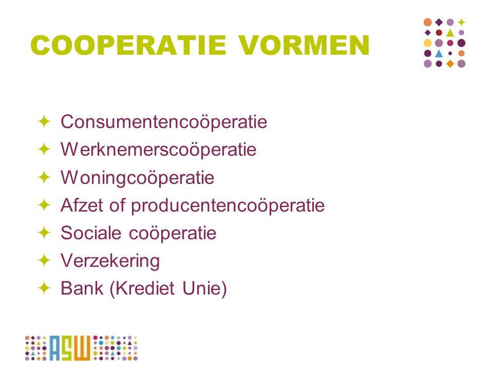 COOPERATIE VORMEN  Consumentencoöperatie  Werknemerscoöperatie  Woningcoöperatie  Afzet of producentencoöperatie  Sociale coöperatie  Verzekerin